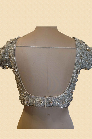 Silver Jewelled Blouse With Silver Stones