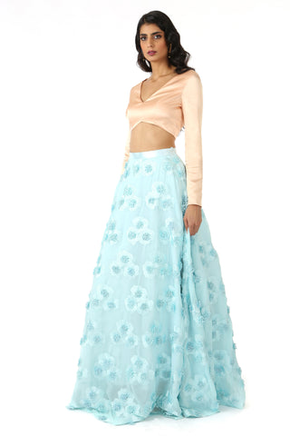 Peach And Light Blue 3d Floral Lehenga SIDE