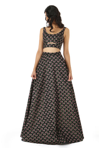 Black Metallic Structured Jacquard Lehenga FRONT