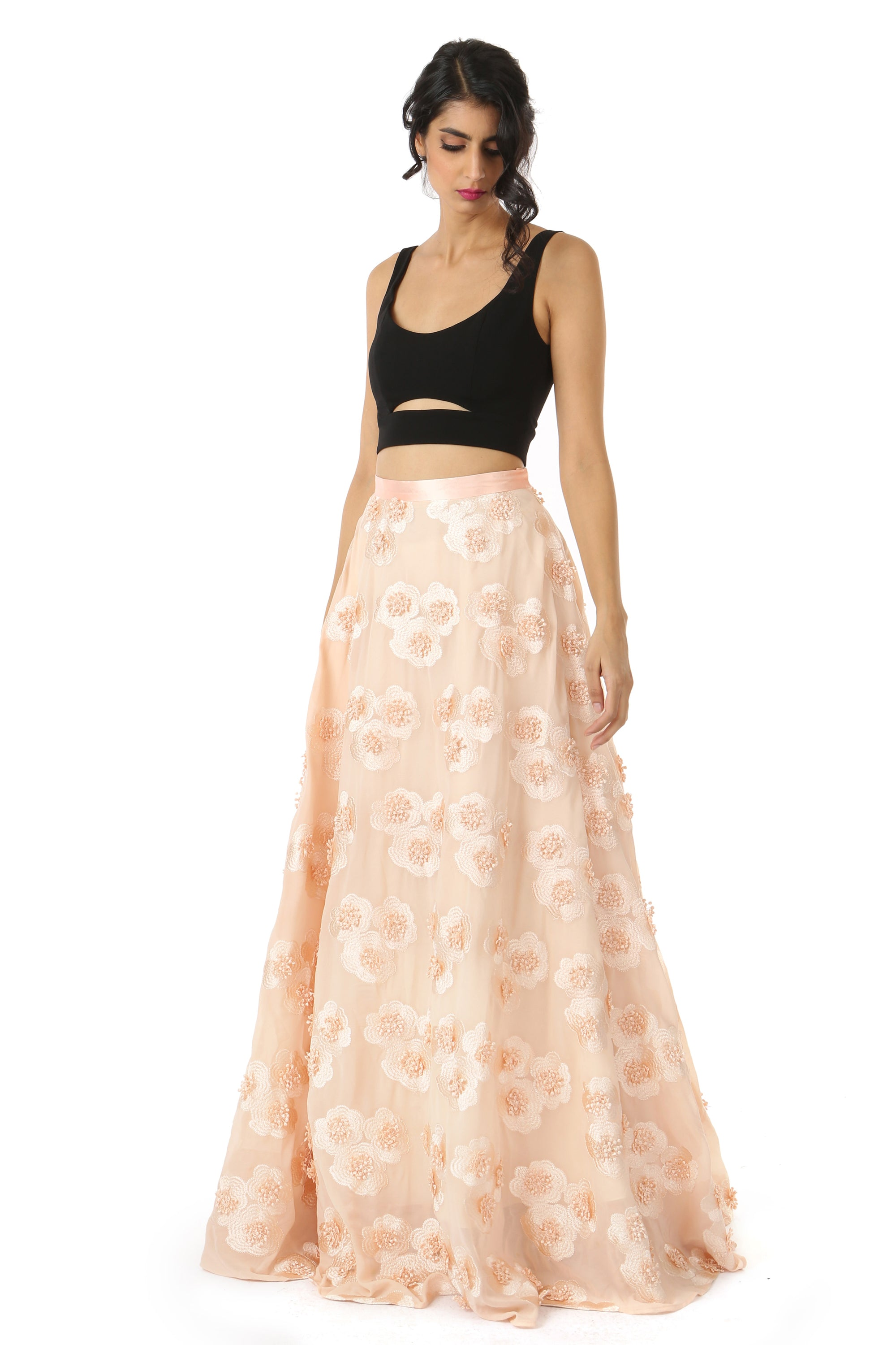 ca1a1a6f9c Peach And Black 3d Floral Lehenga | VIVA-LUXE