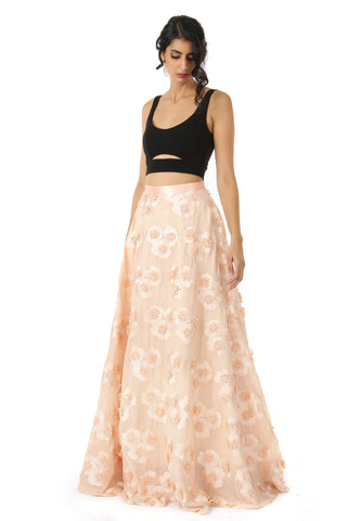 Peach And Black 3d Floral Lehenga FRONT