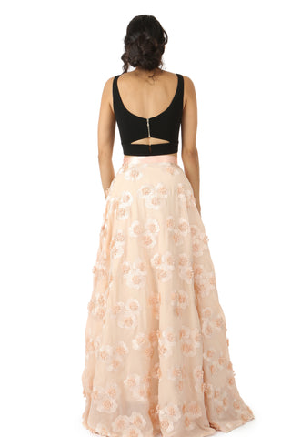 Peach And Black 3d Floral Lehenga