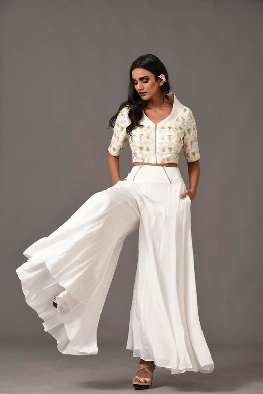 White Beaded Trouser Suit Front