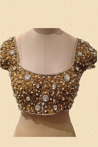 Gold Jewelled Blouse With White Stones Front