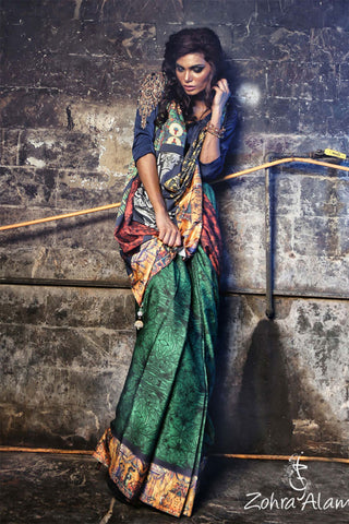 Zohra Alam Art Printed Silk Saree