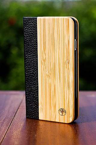 The Folio 6 - Bamboo & Leather Flip Case for iPhone 6/6s