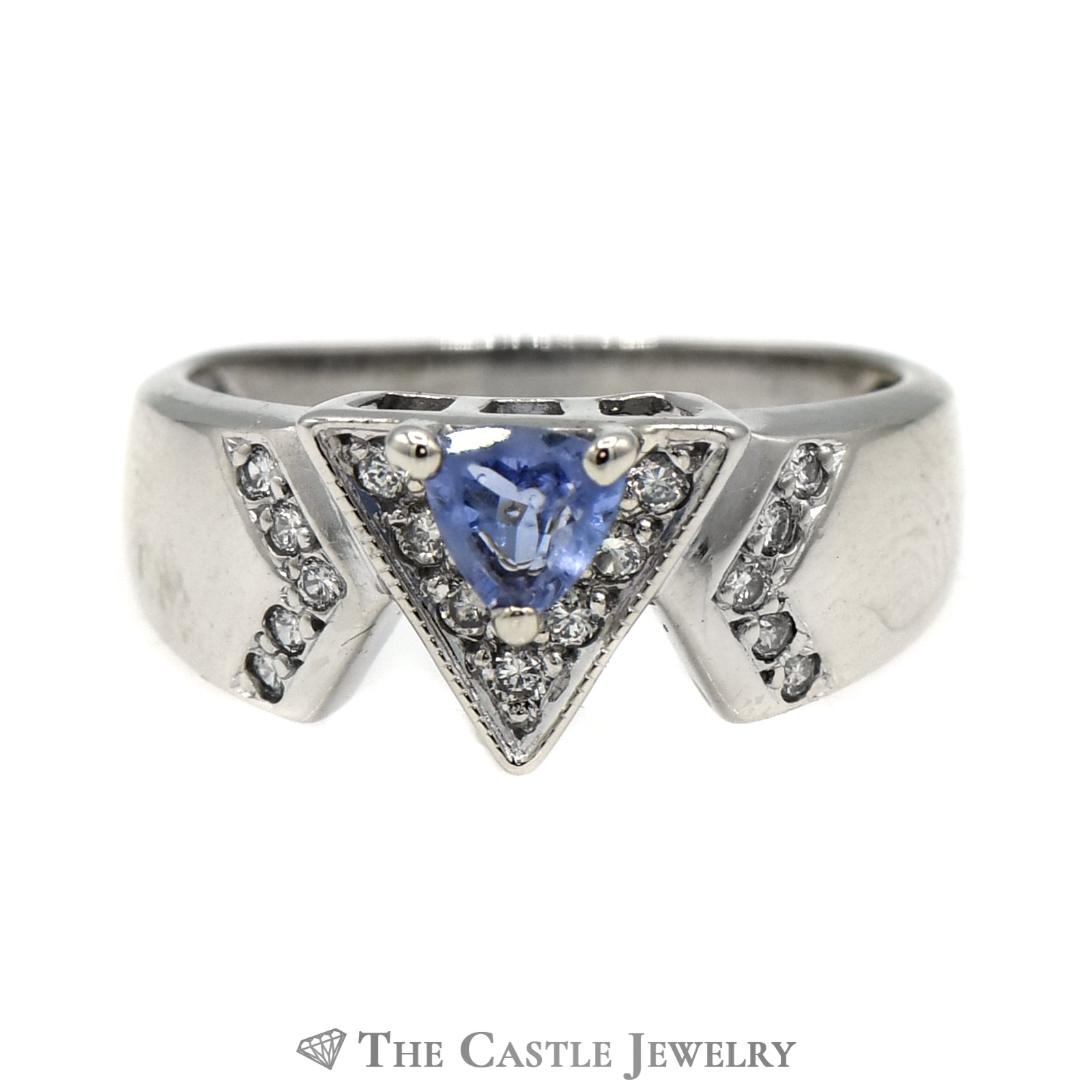 Trillion Cut Tanzanite Ring with .15cttw Diamond Accents in 10k White Gold