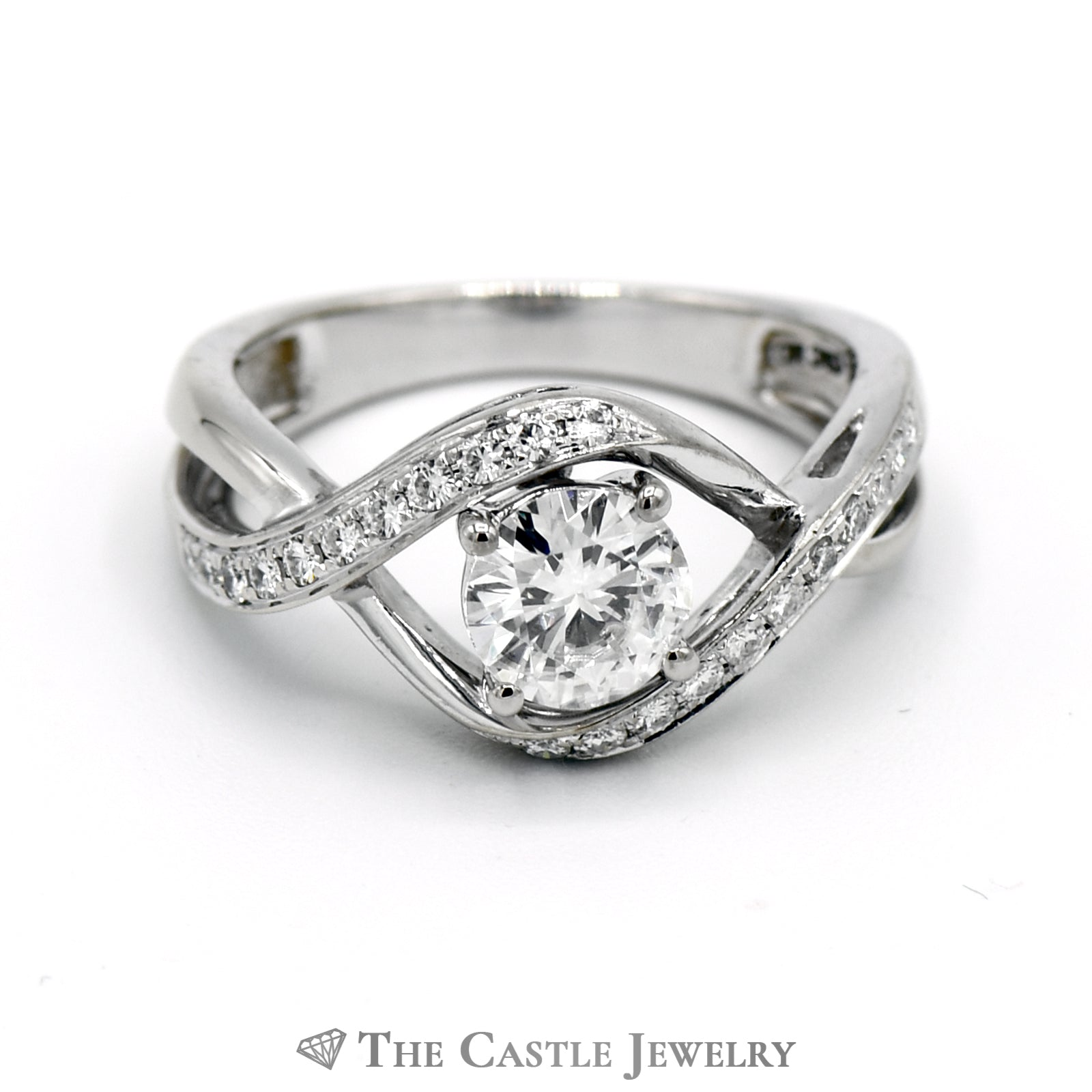 Bypass Moissanite Engagement Ring 1CTTW with, .80CT Round Center