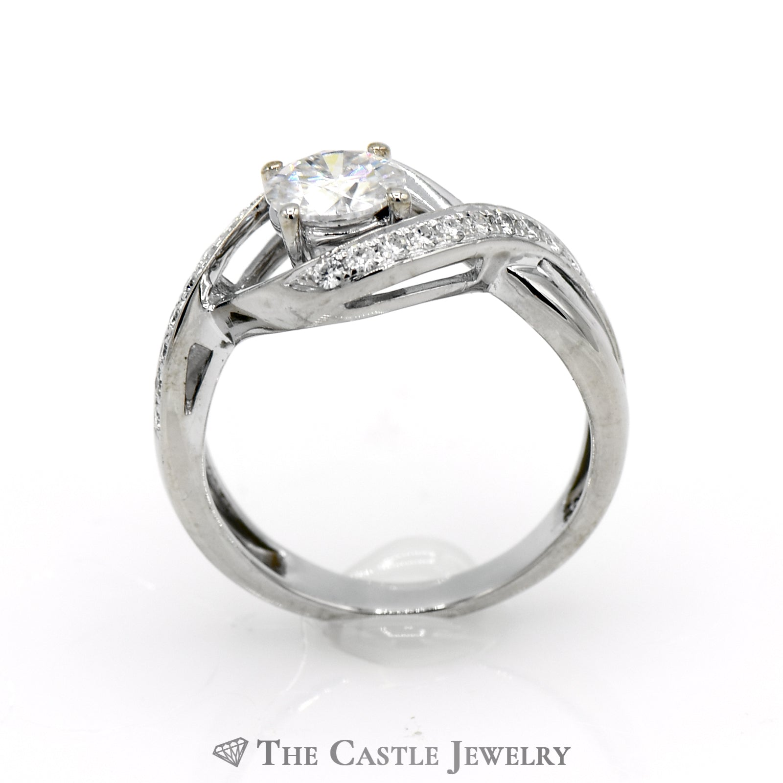 Bypass Moissanite Engagement Ring 1CTTW with, .80CT Round Center-1