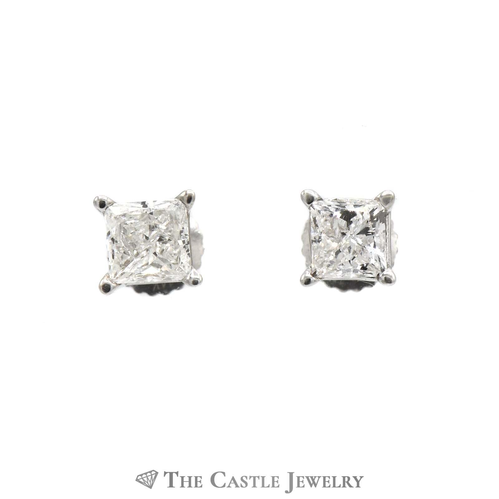 Princess Cut Diamond Stud Earrings 1cttw in 14K White Gold