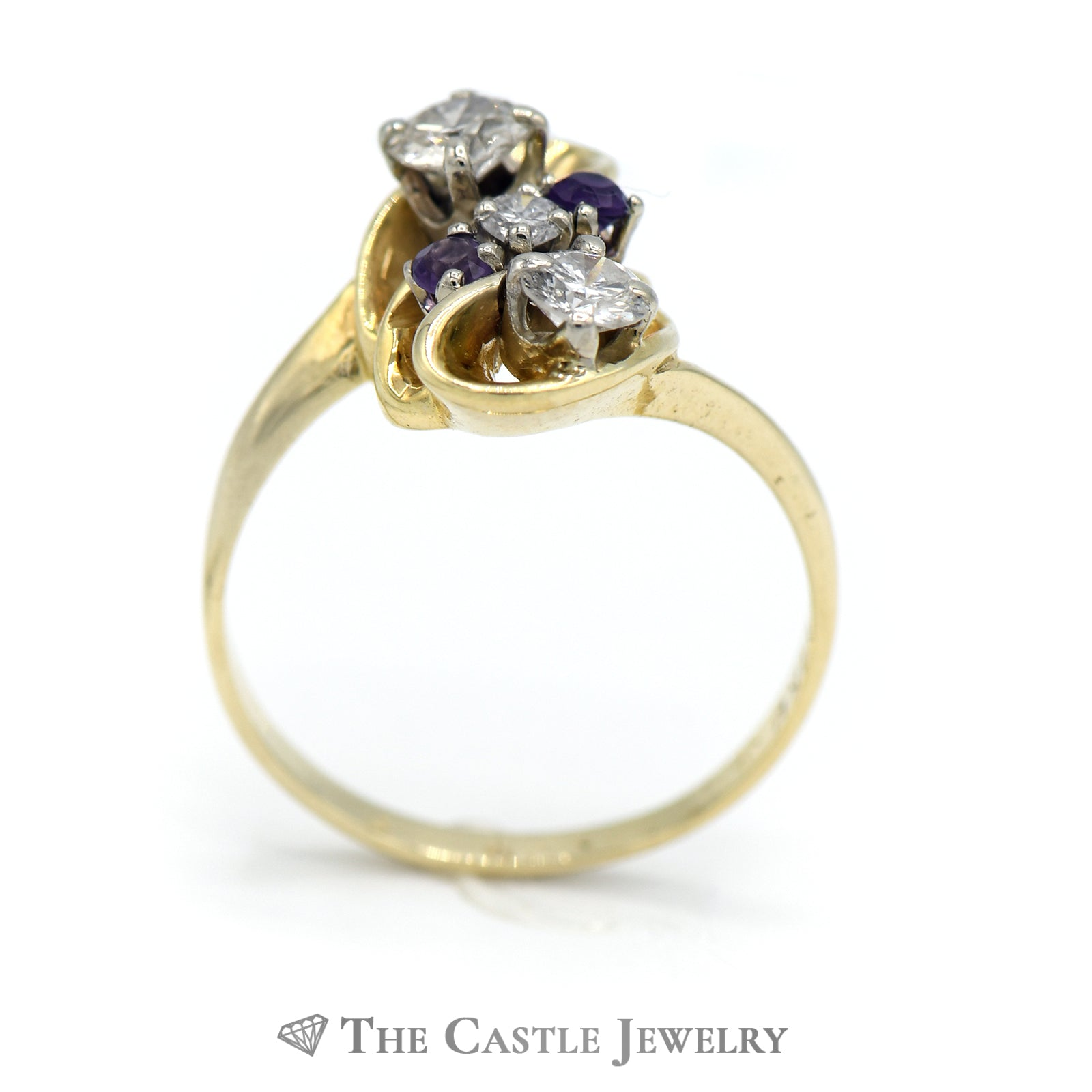 Fancy Design Diamond Ring With Amethyst Accents in 14K Yellow Gold-1
