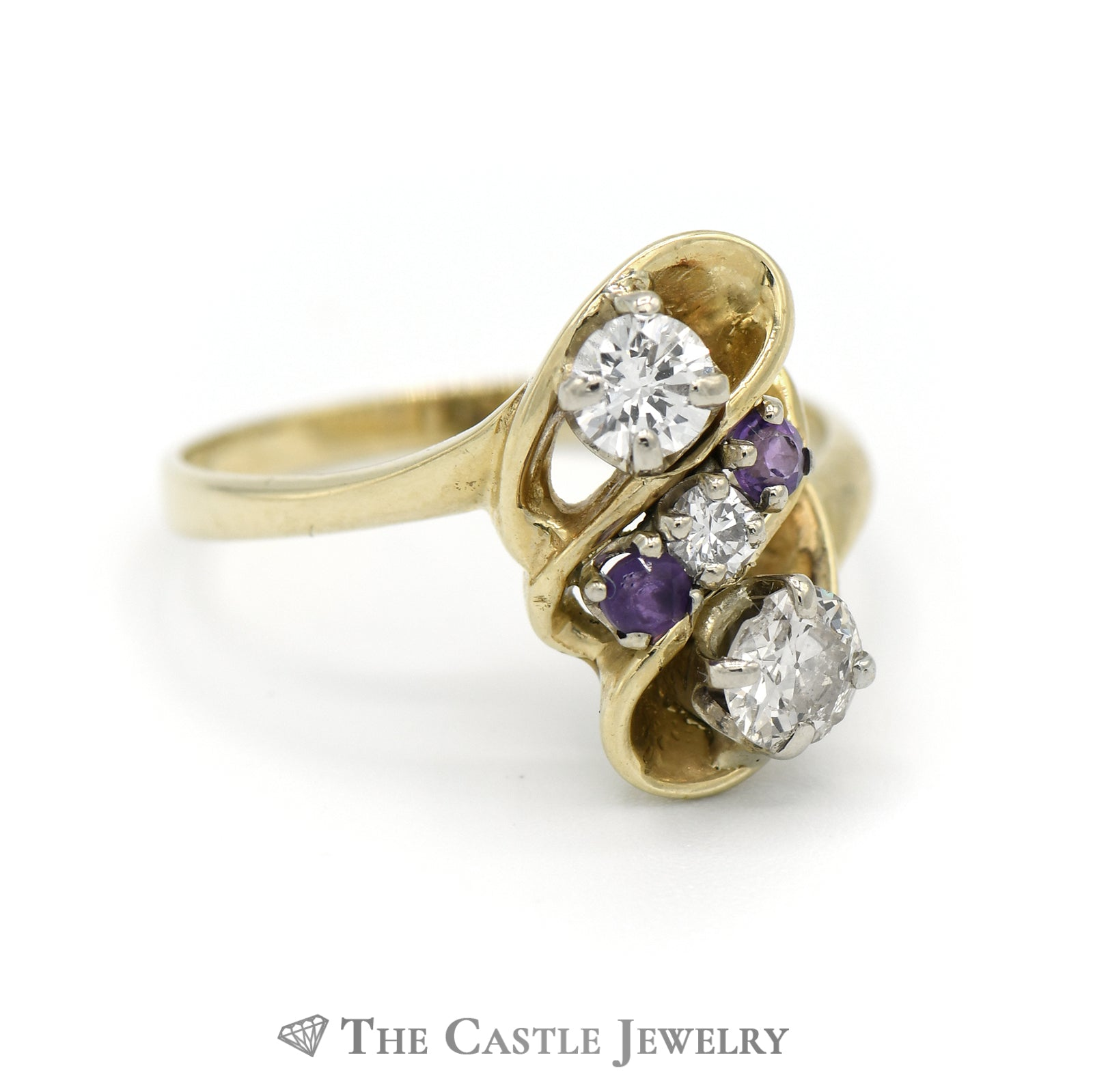 Fancy Design Diamond Ring With Amethyst Accents in 14K Yellow Gold-2