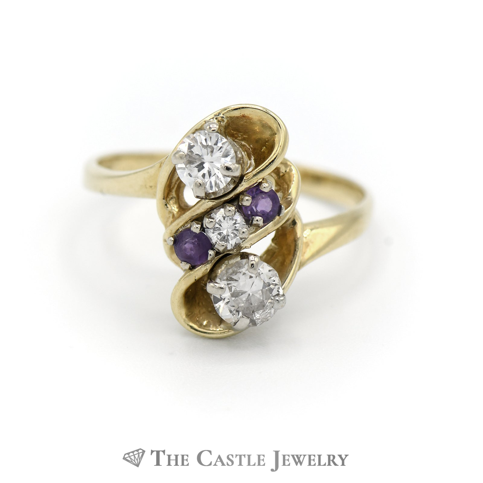 Fancy Design Diamond Ring With Amethyst Accents in 14K Yellow Gold