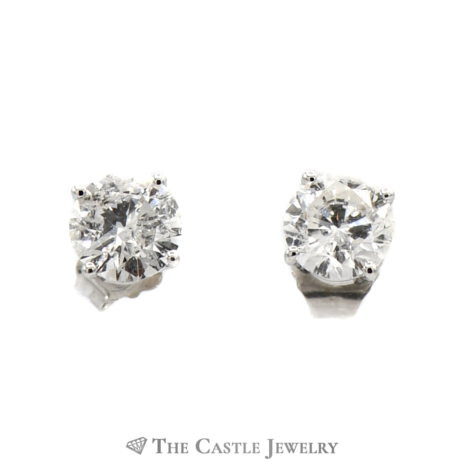 1cttw Round Brilliant Cut Diamond Stud Earrings in 14K White Gold