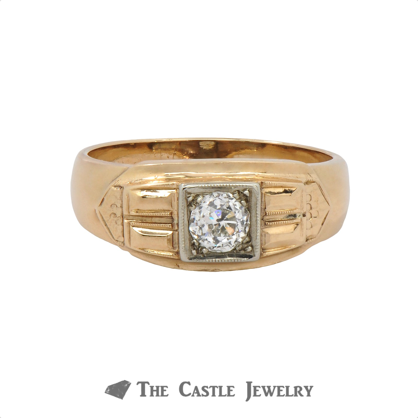 .40 Carat Old European Cut Diamond Gent's Vintage Ring In 14K Yellow Gold