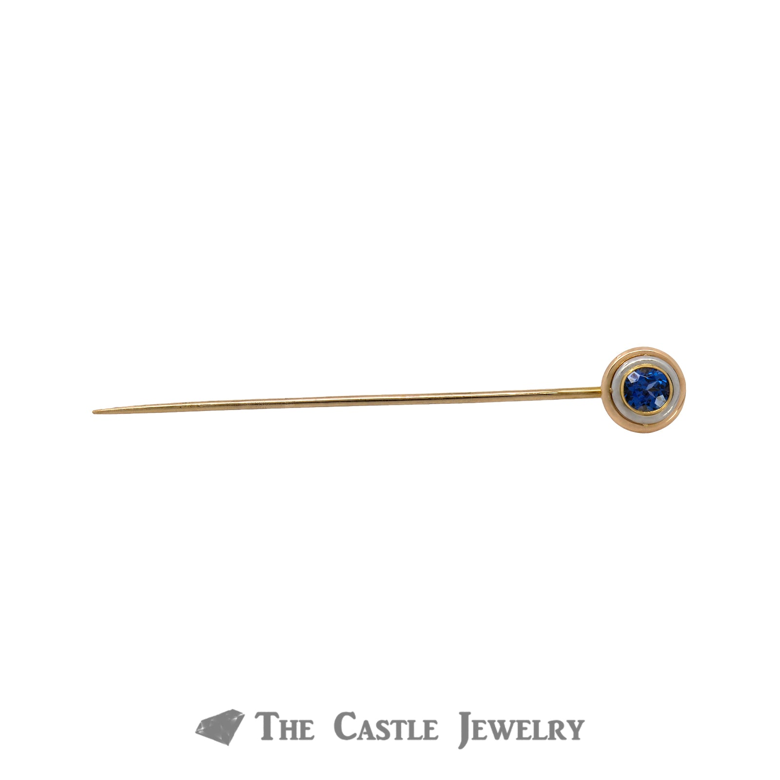 Gent's 10K Yellow Gold Tanzanite Tie Tack-0