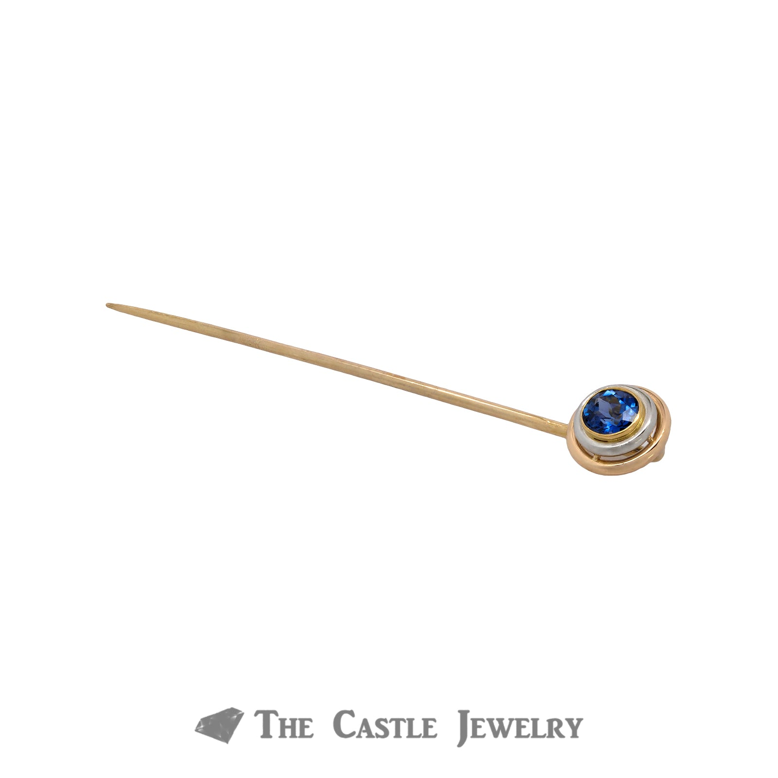Gent's 10K Yellow Gold Tanzanite Tie Tack-2