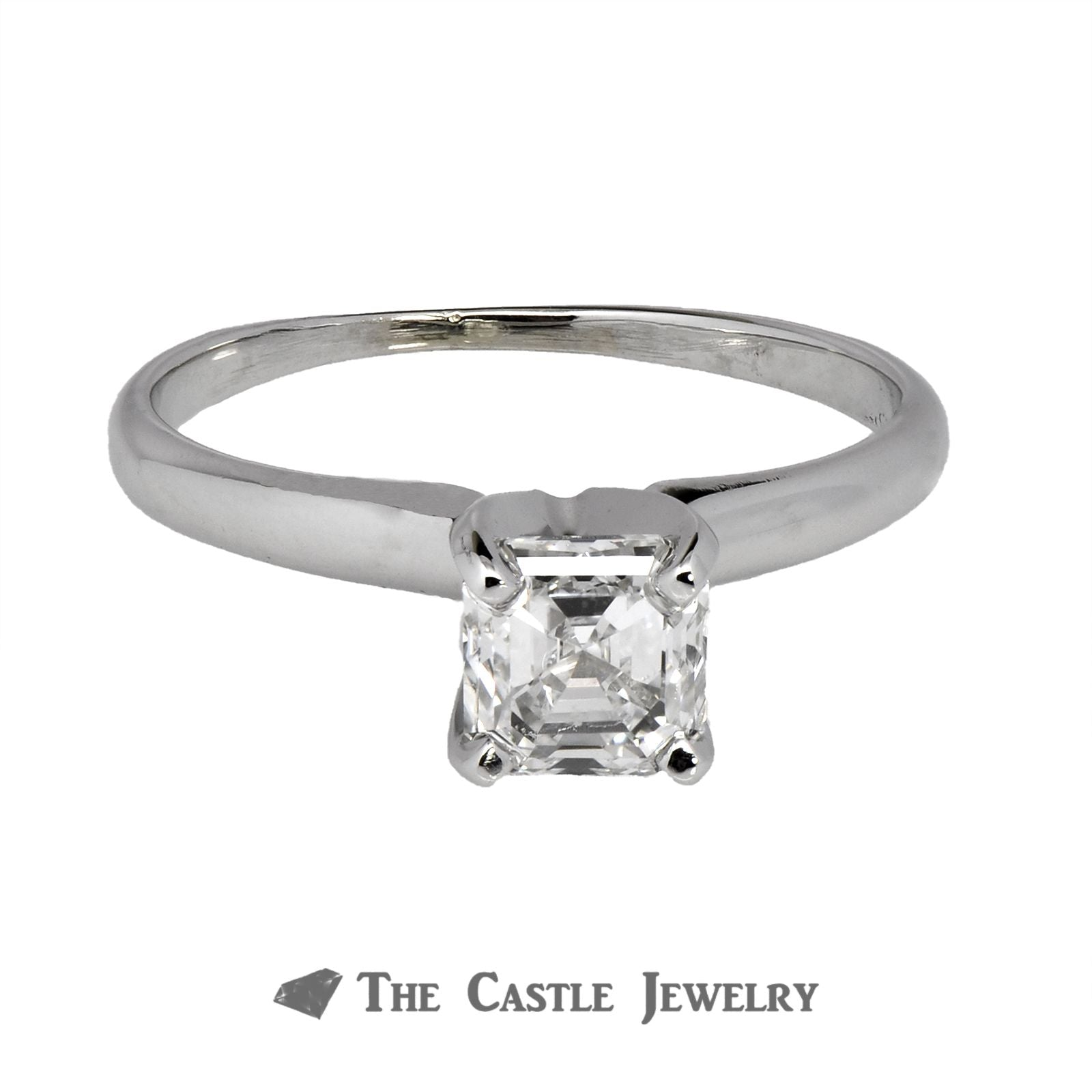Square Emerald Cut 1.01carat VS2/D Diamond Engagement Ring in 14K White Gold