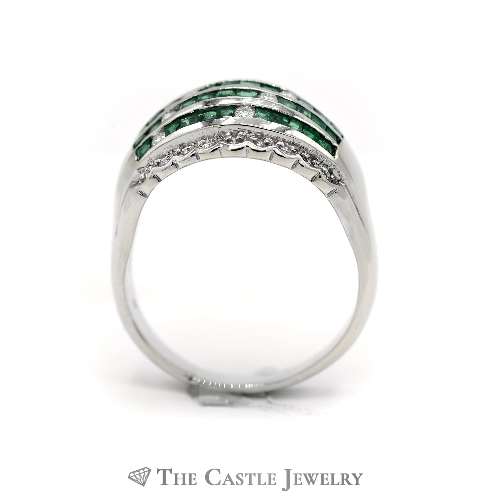 Emerald & Diamond Cluster Dome Ring in 18k White Gold-1