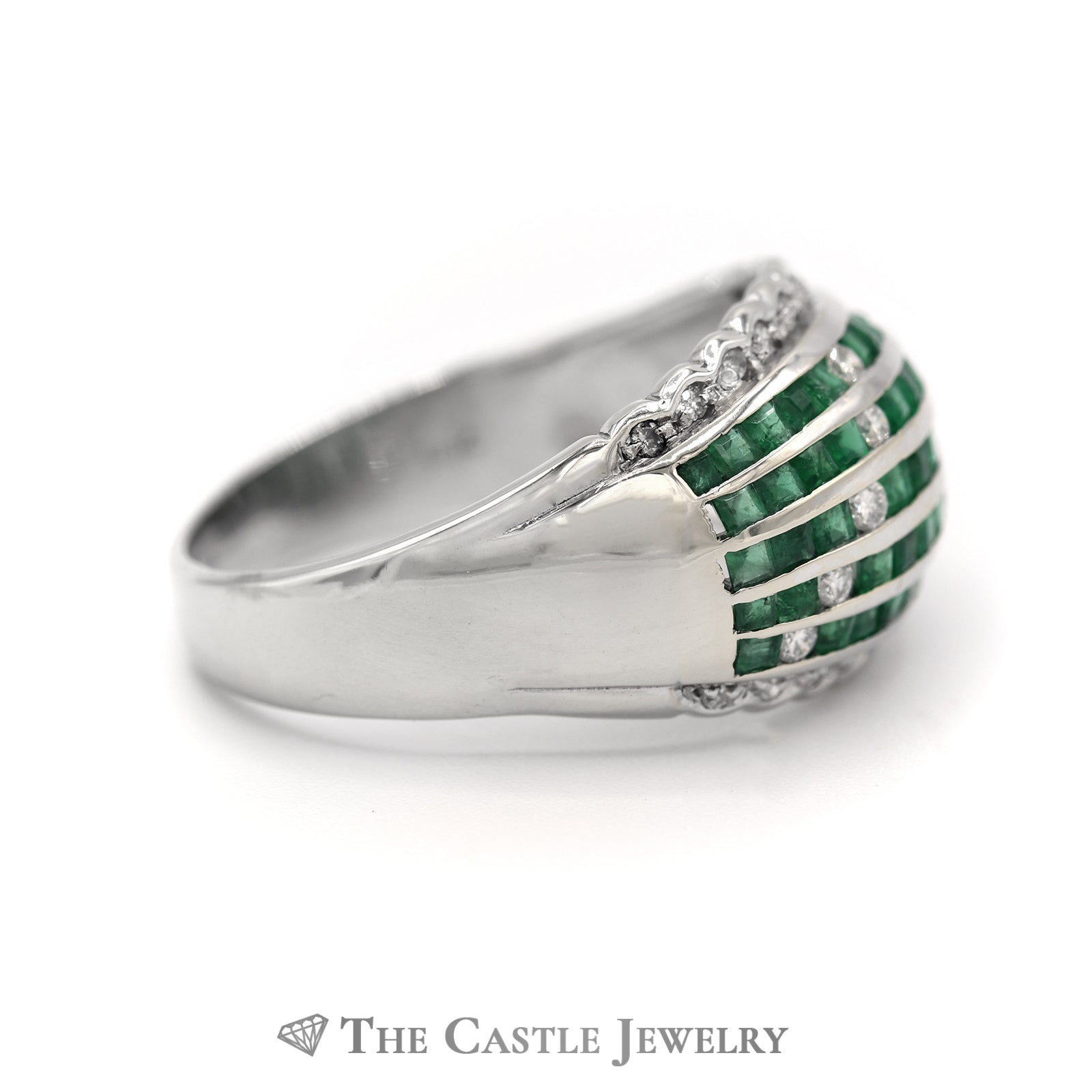 Emerald & Diamond Cluster Dome Ring in 18k White Gold-2