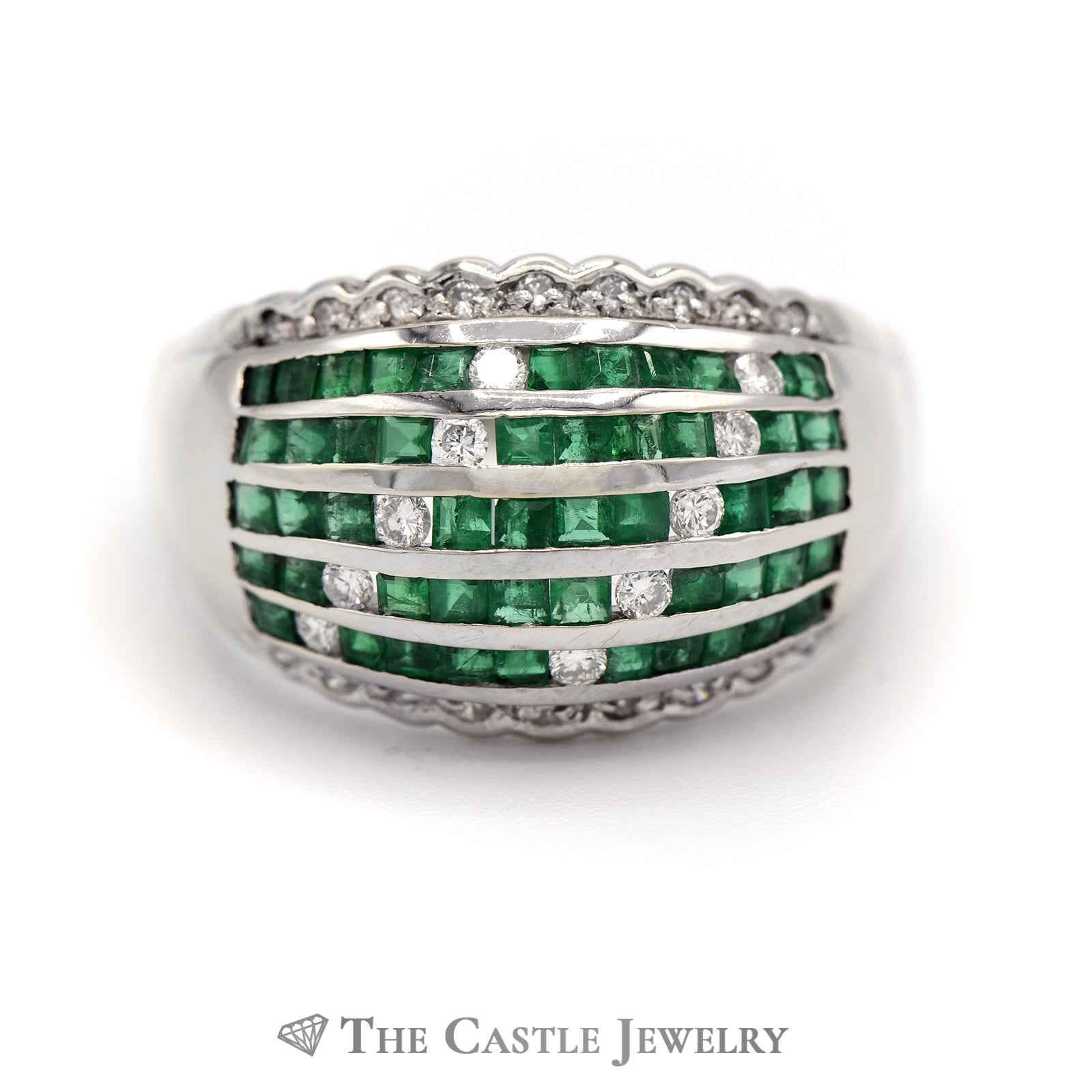 Emerald & Diamond Cluster Dome Ring in 18k White Gold