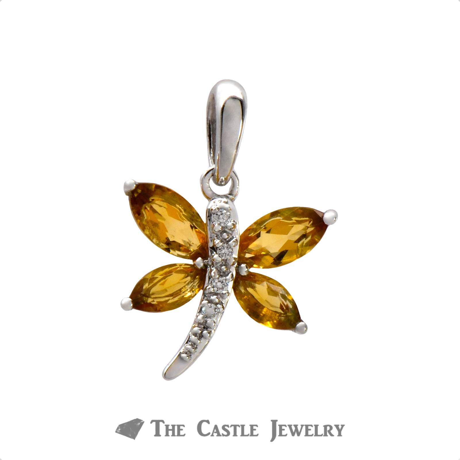 Dragonfly Pendant with Citrine & Diamonds in White Gold