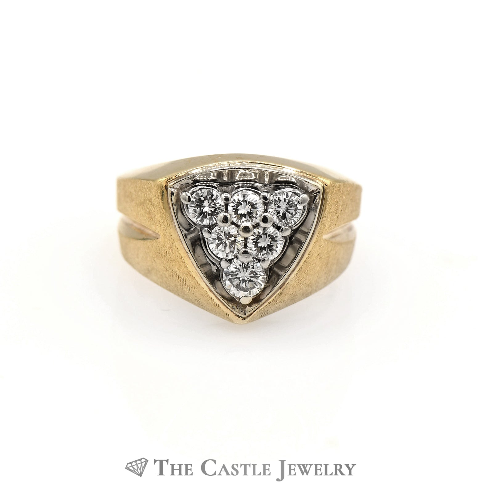 Men's Triangle Shaped Diamond Cluster Ring in 14k Yellow Gold