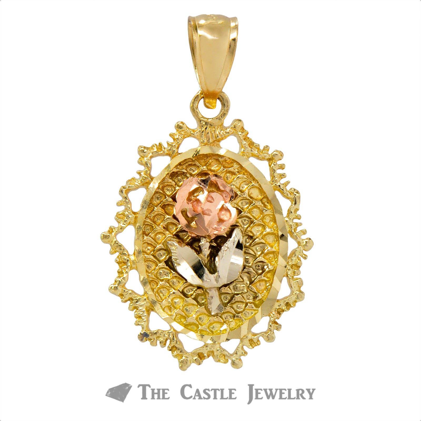 Oval 14K Gold Tri-Color Rose Pendant