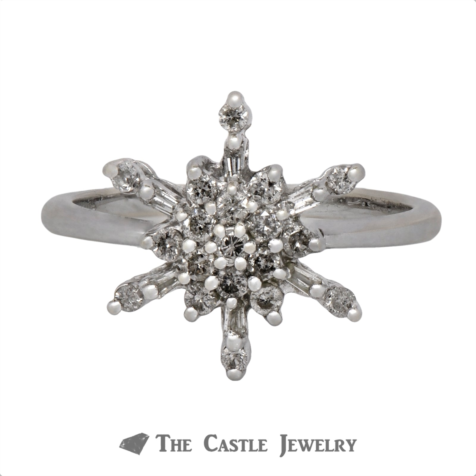 Diamond Cluster in Snowflake Design Crafted in 14k White Gold-0