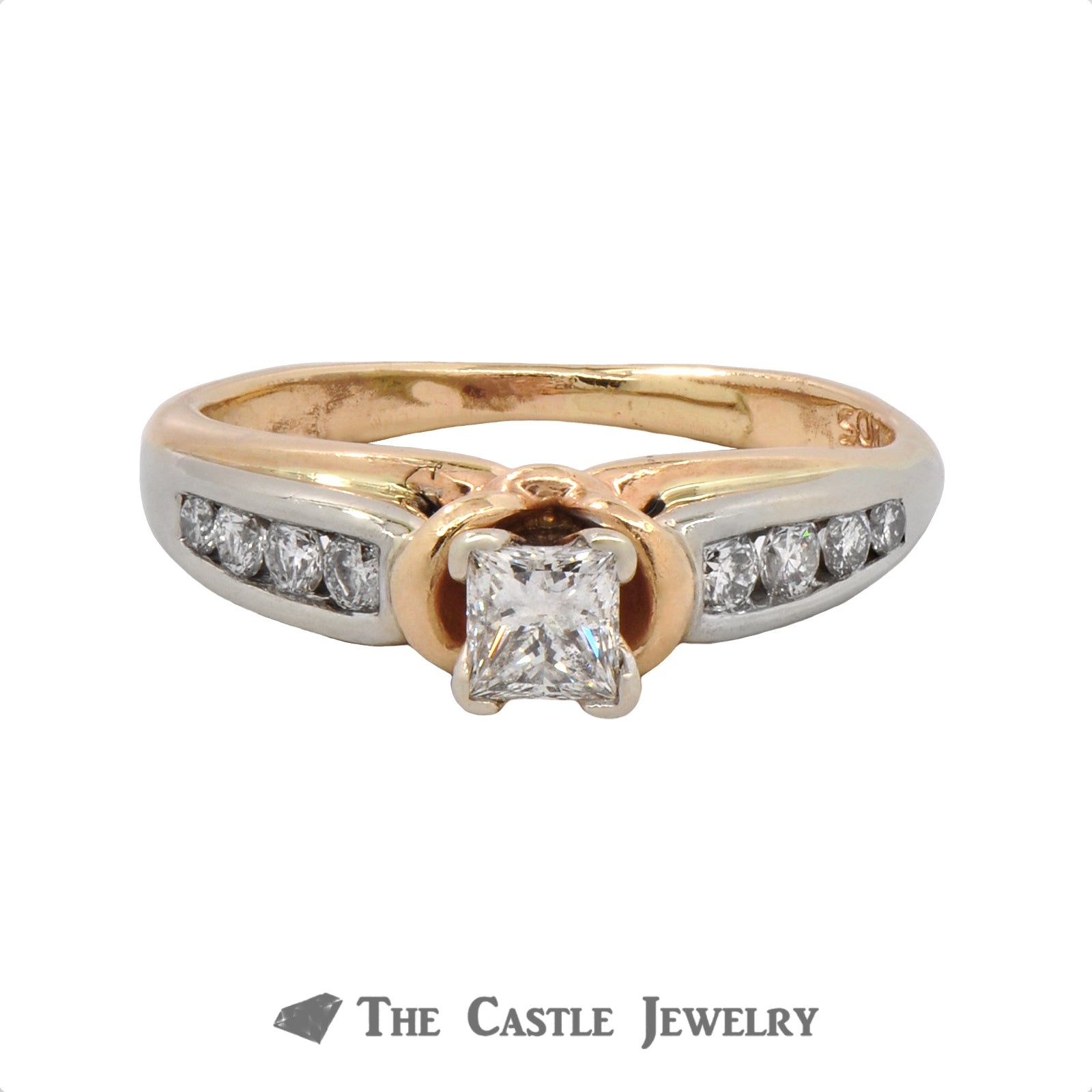 Unique Princess Cut Diamond Engagement Ring with European Shank