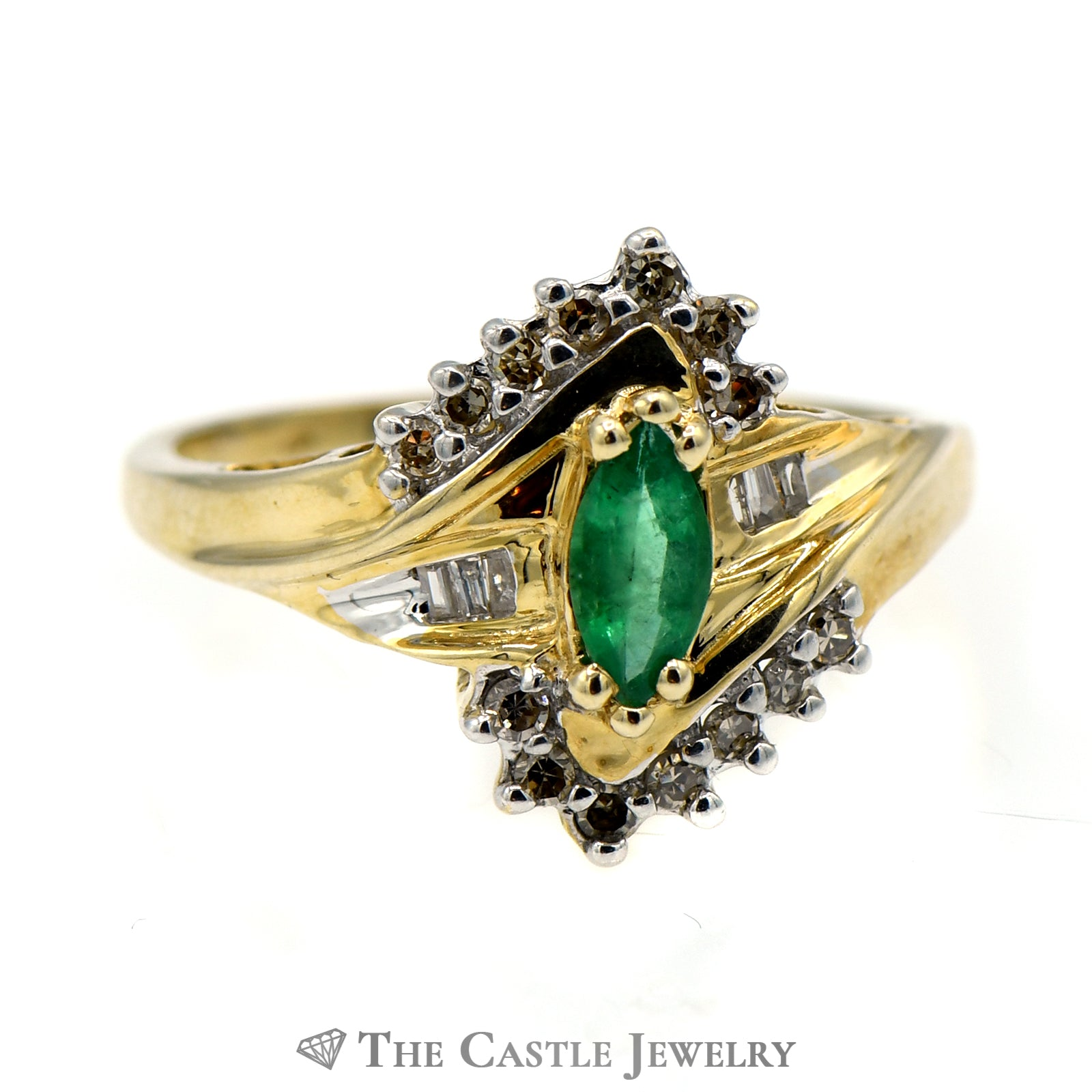 Marquise Emerald Ring with Baguette & Round Diamond Accents-0