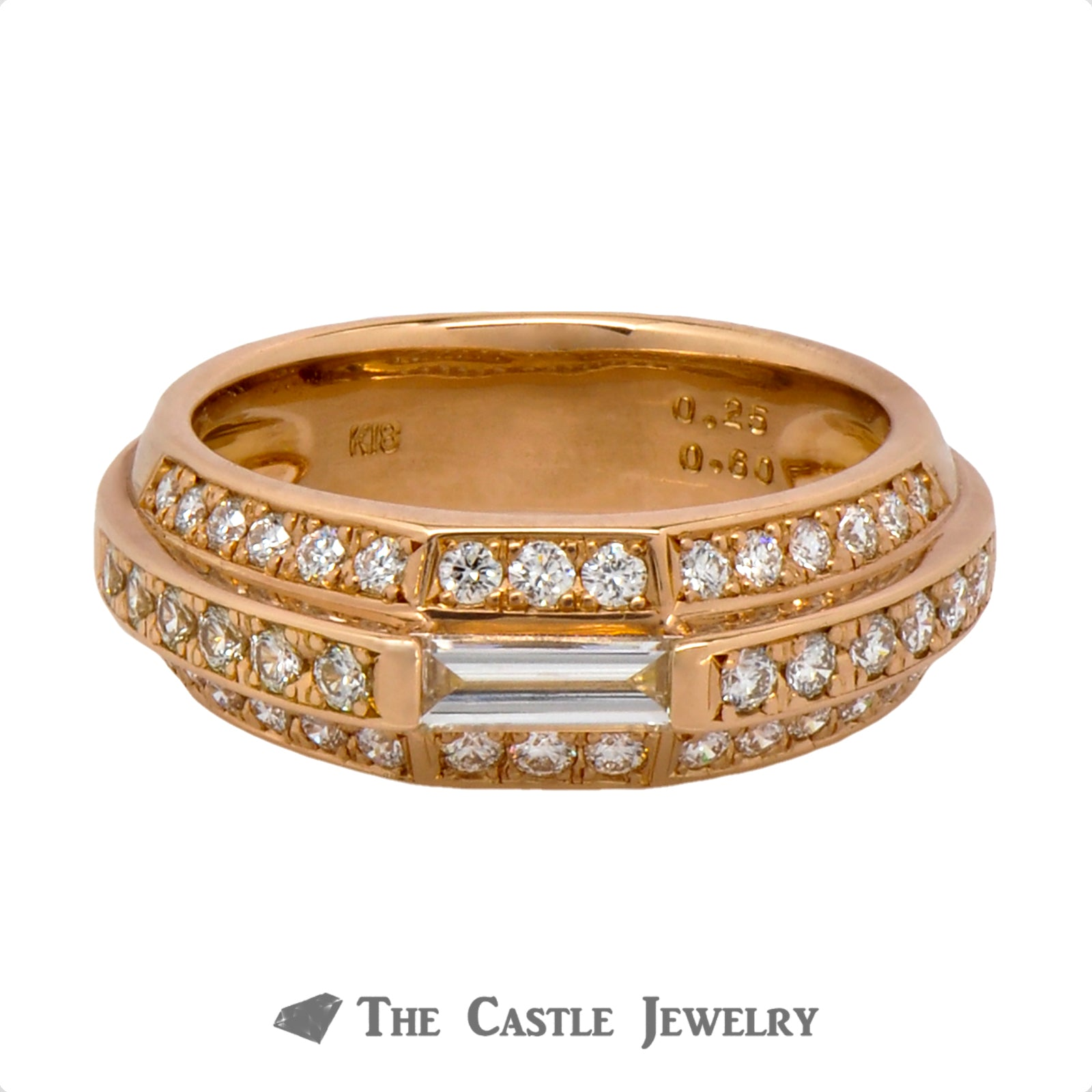 3 Row Baguette & Round Diamond Band in 18k Rose Gold