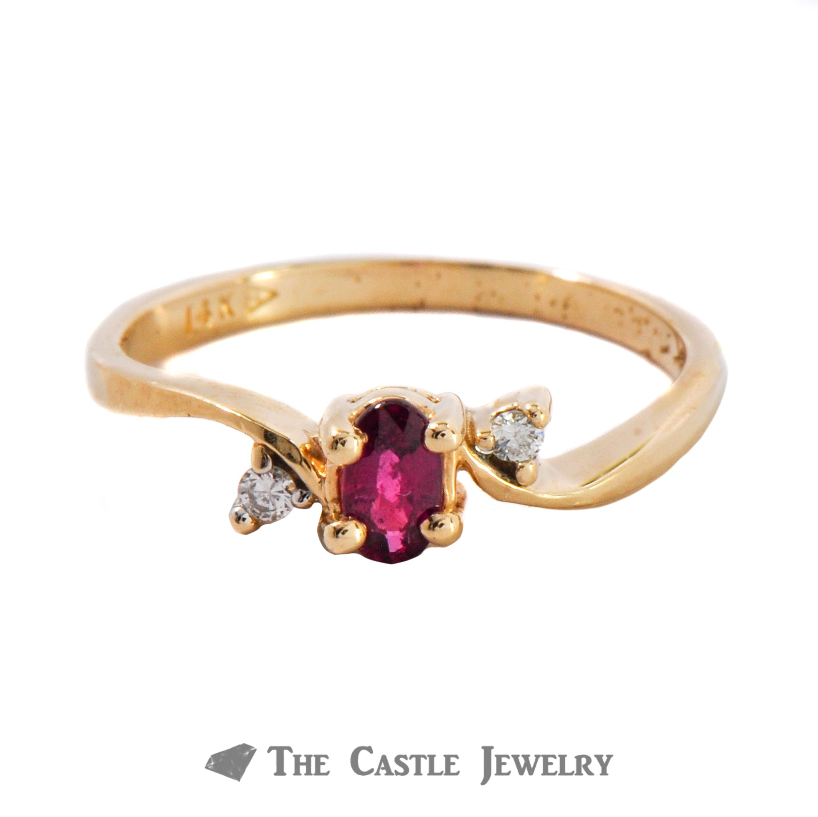 Oval Cut Ruby Ring With .02CTTW Diamonds 14K Yellow Gold