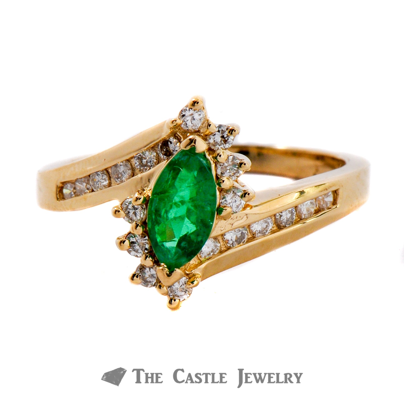 Genuine Marquise Cut Emerald And Diamond Ring In 14K Yellow Gold