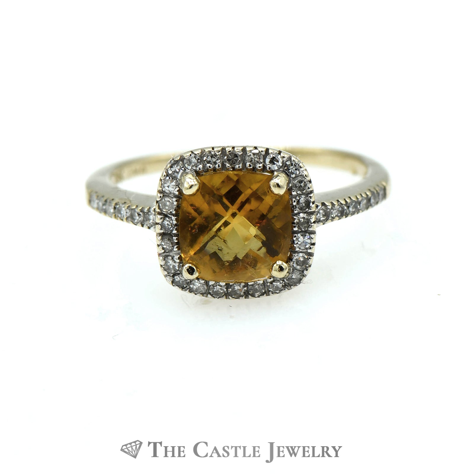 Cushion Cut Citrine Ring Set in Diamond Mounting with Halo