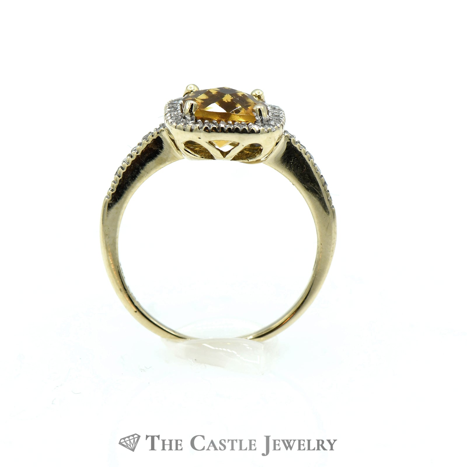 Cushion Cut Citrine Ring Set in Diamond Mounting with Halo-1