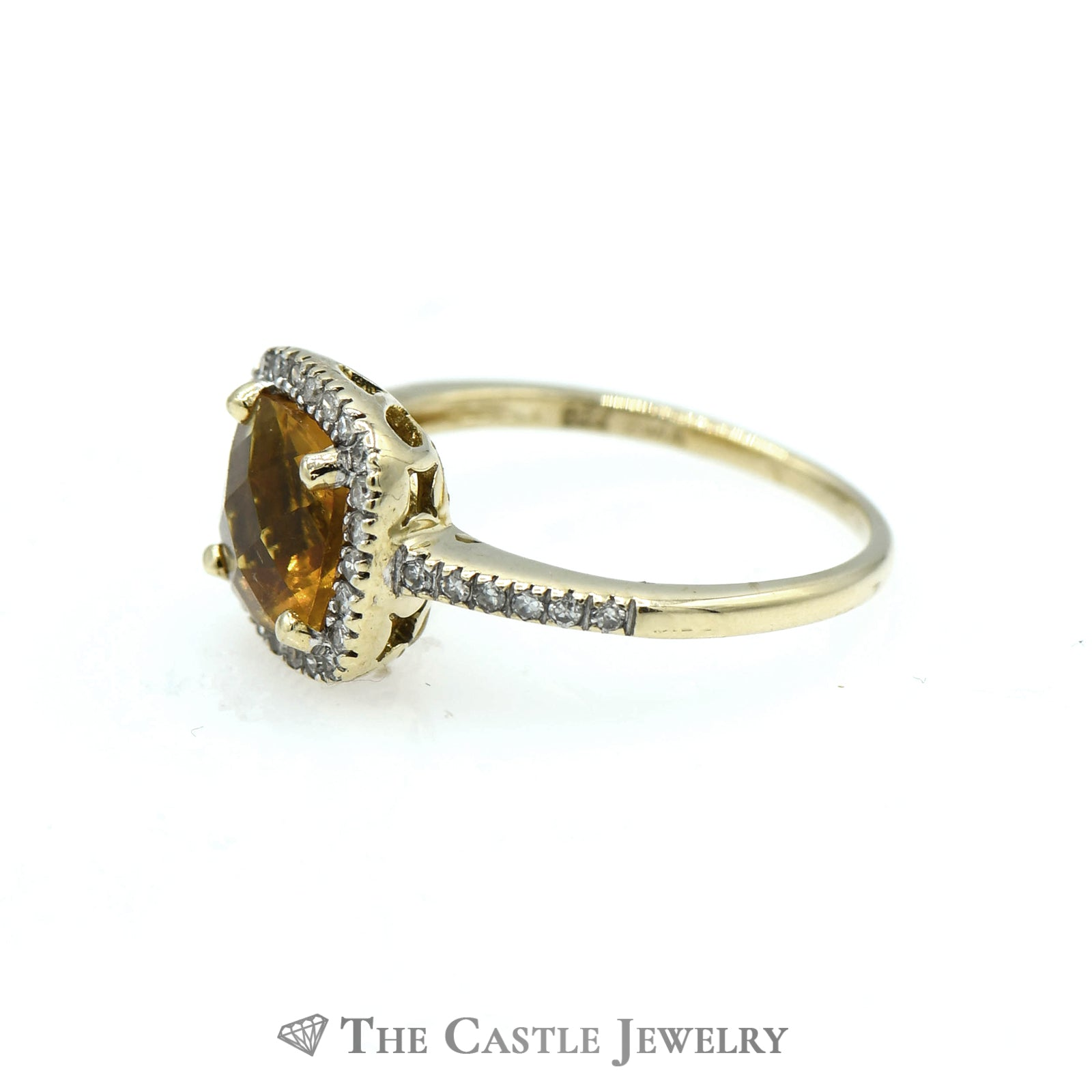 Cushion Cut Citrine Ring Set in Diamond Mounting with Halo-2