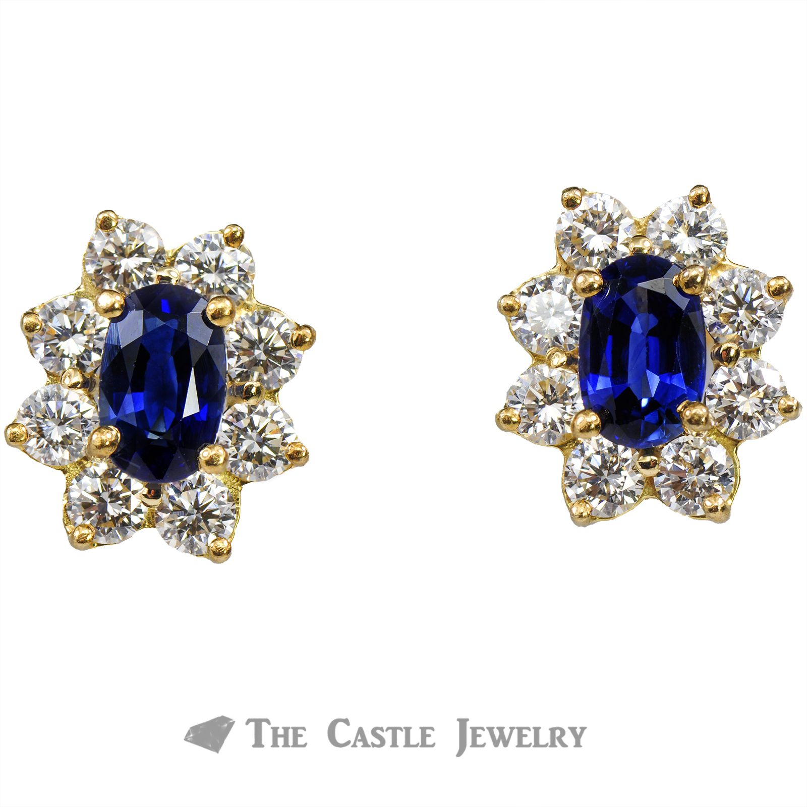 Oval Sapphire Screw On Earrings with Diamond Halo 14K Gold