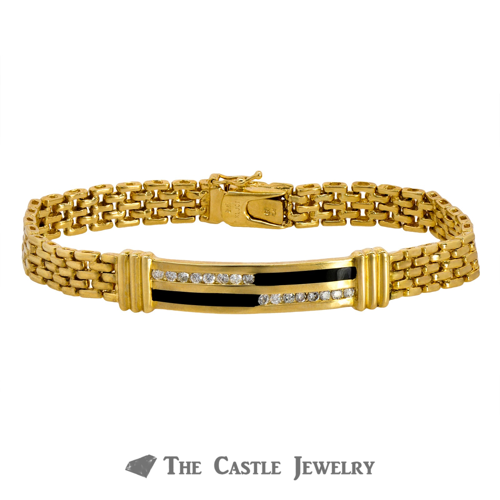 8 Inch Men's Bracelet Crafted in 14K Yellow Gold with Onyx and Diamond Bar Center