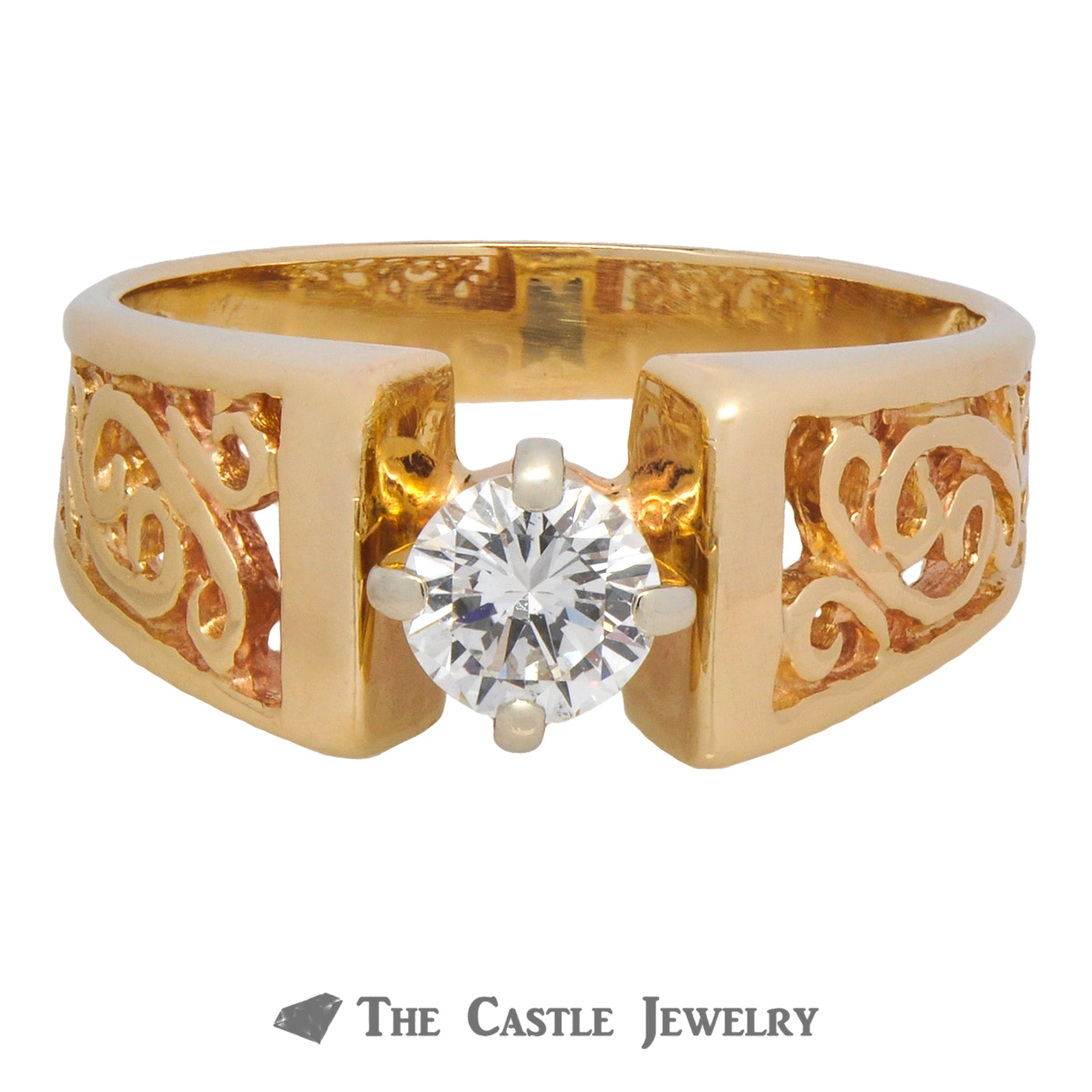 Solitaire Round Brilliant Cut Ring with Scroll Designs