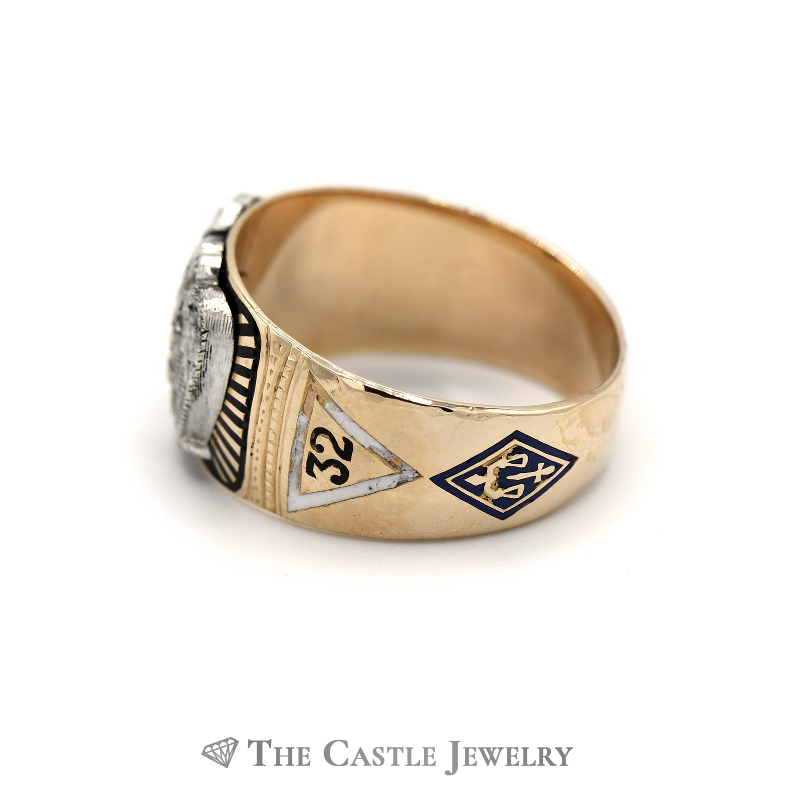 Double Eagle Masonic Ring in 14k Two Tone Gold-3