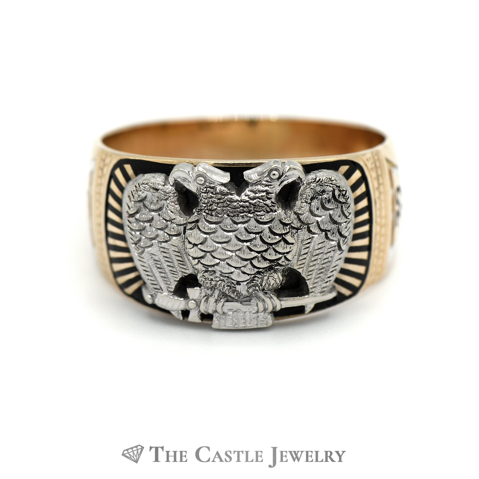 Double Eagle Masonic Ring in 14k Two Tone Gold