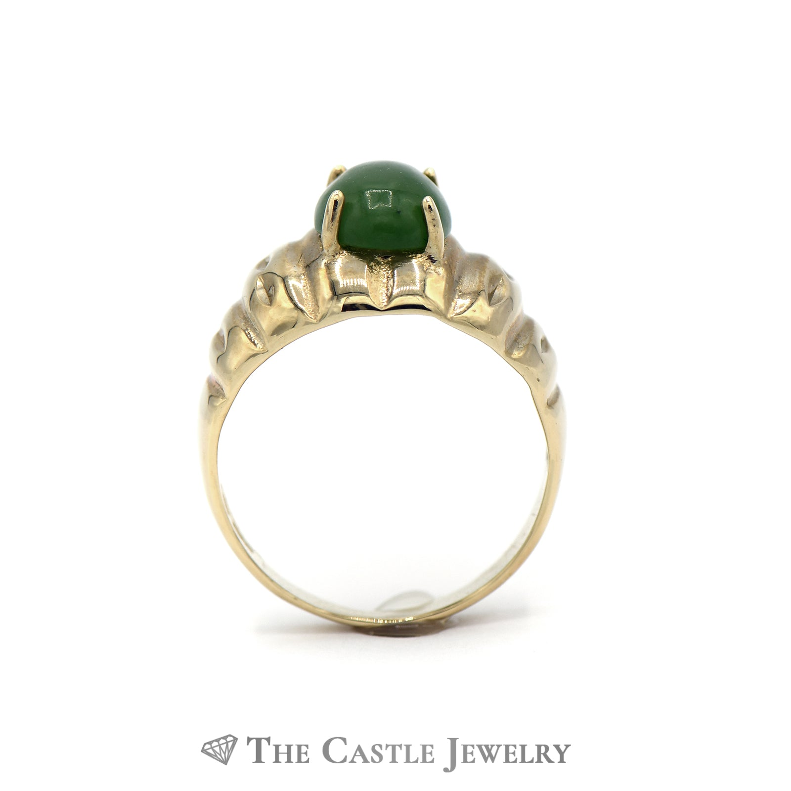 Oval Cabochon Jade Ring in 10k Yellow Gold-1