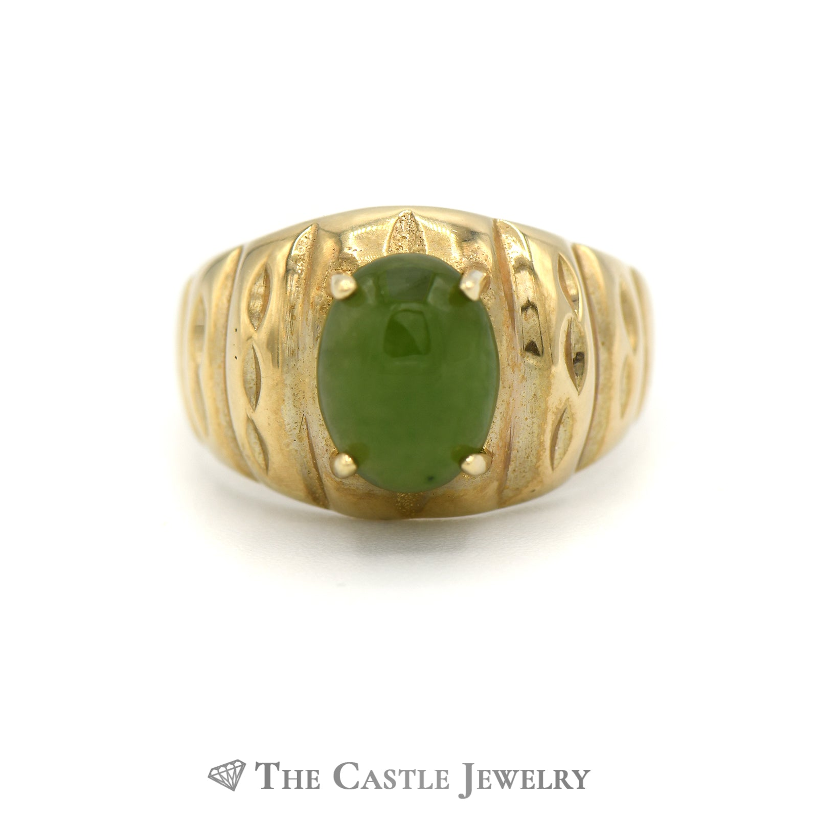 Oval Cabochon Jade Ring in 10k Yellow Gold