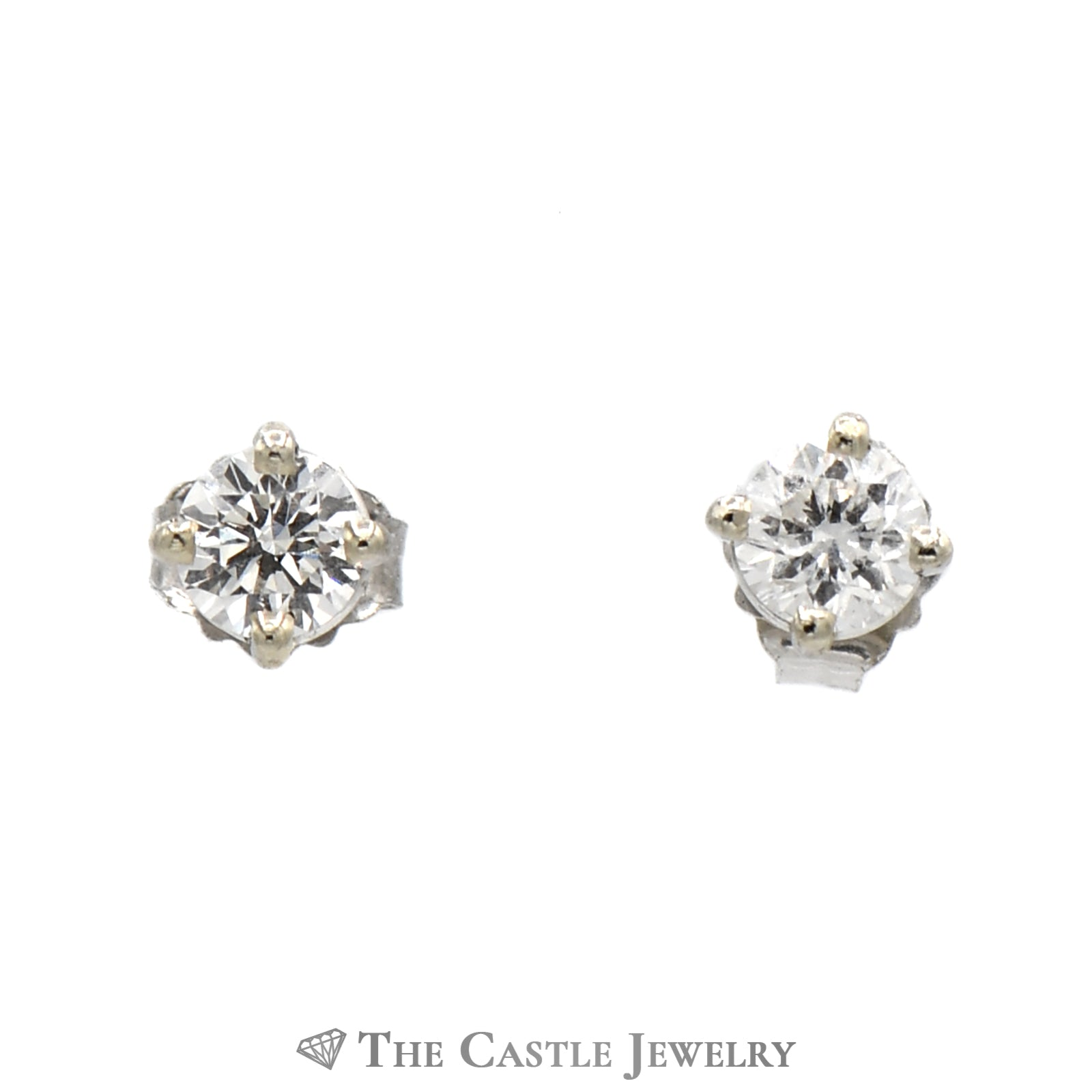 Diamond Stud Earrings .33cttw Round Brilliant Cut in 14K White Gold