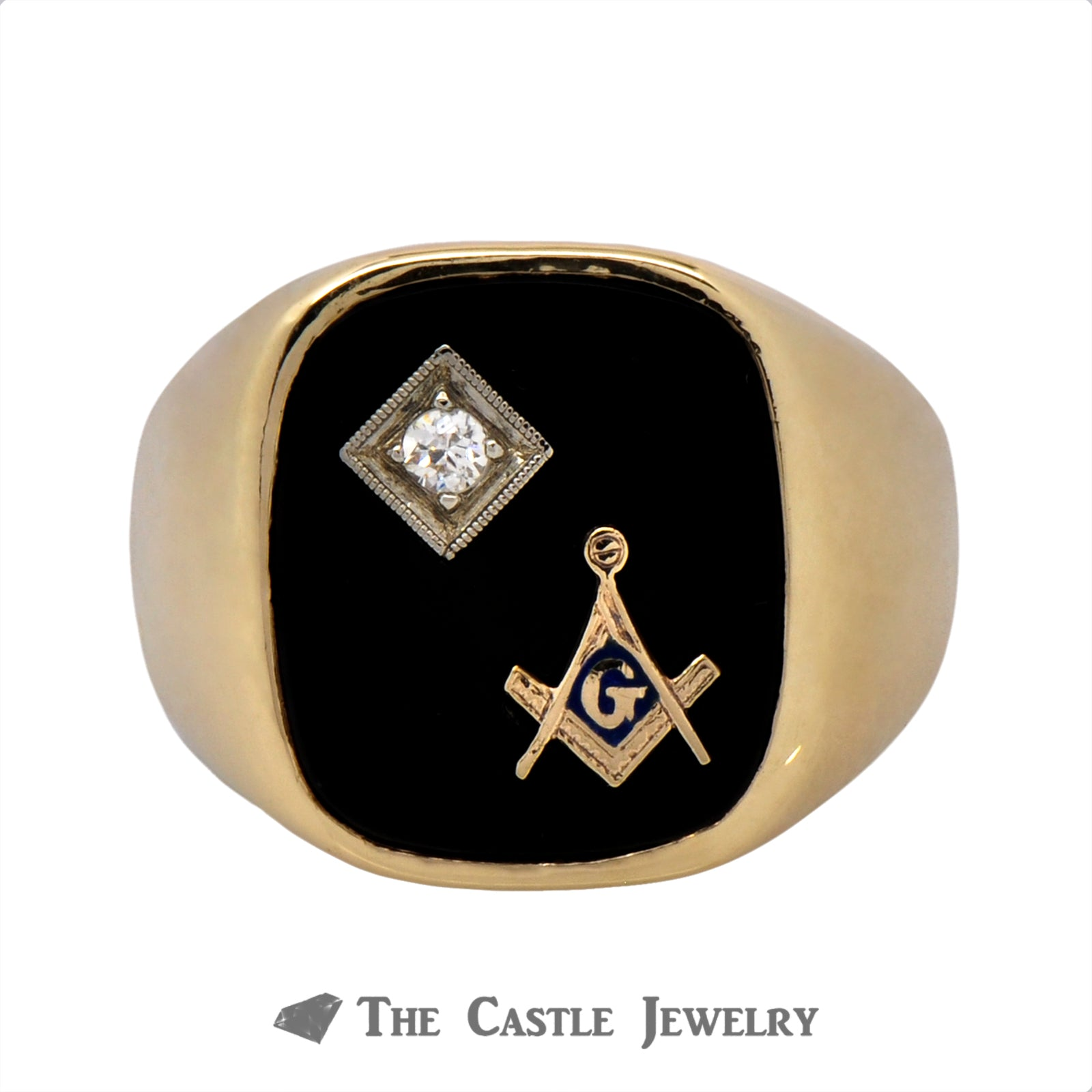 "Men's Masonic ""Square & Compass"" Diamond and Onyx Ring"