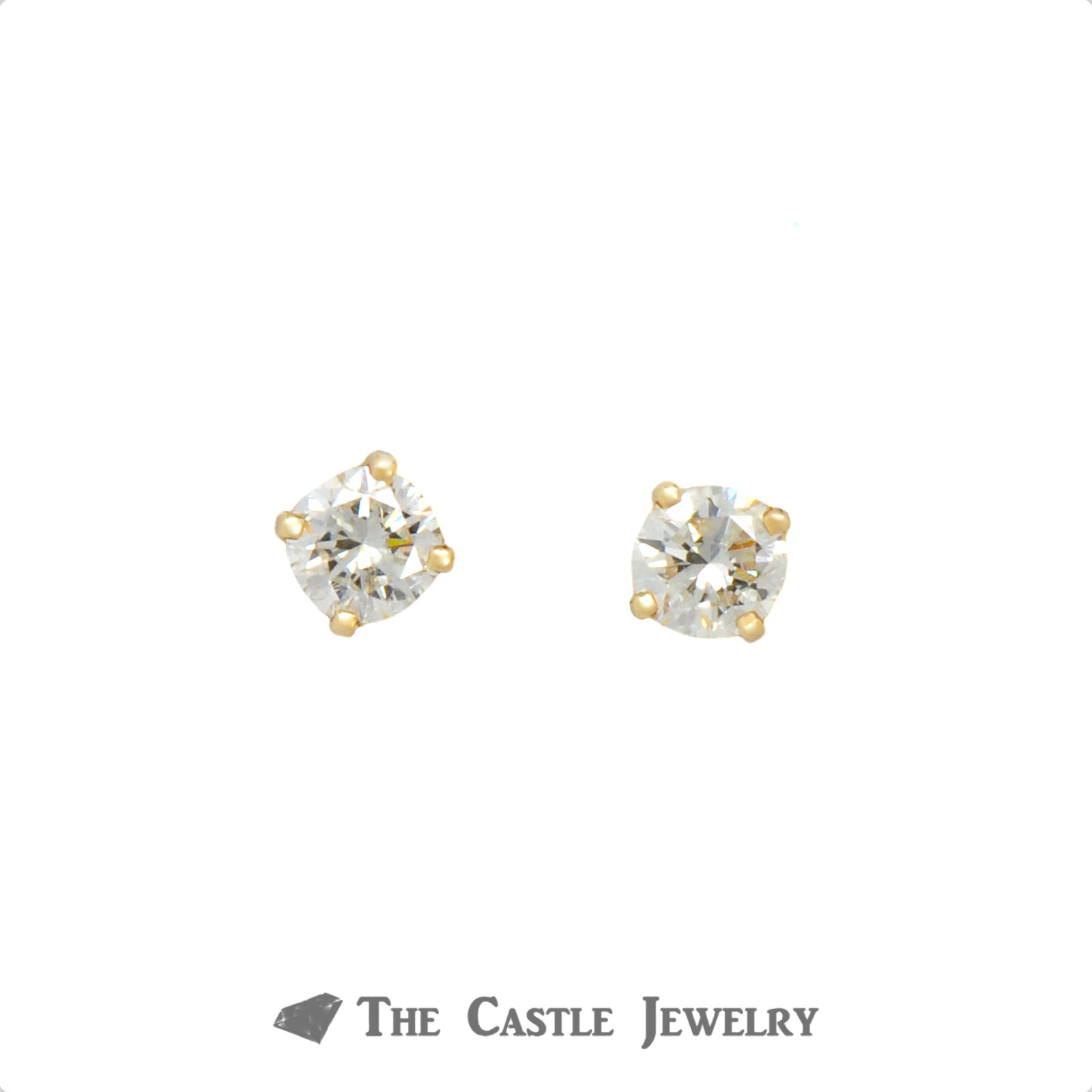 .75cttw Round Brilliant Cut Diamond Studs in 14k Yellow Gold