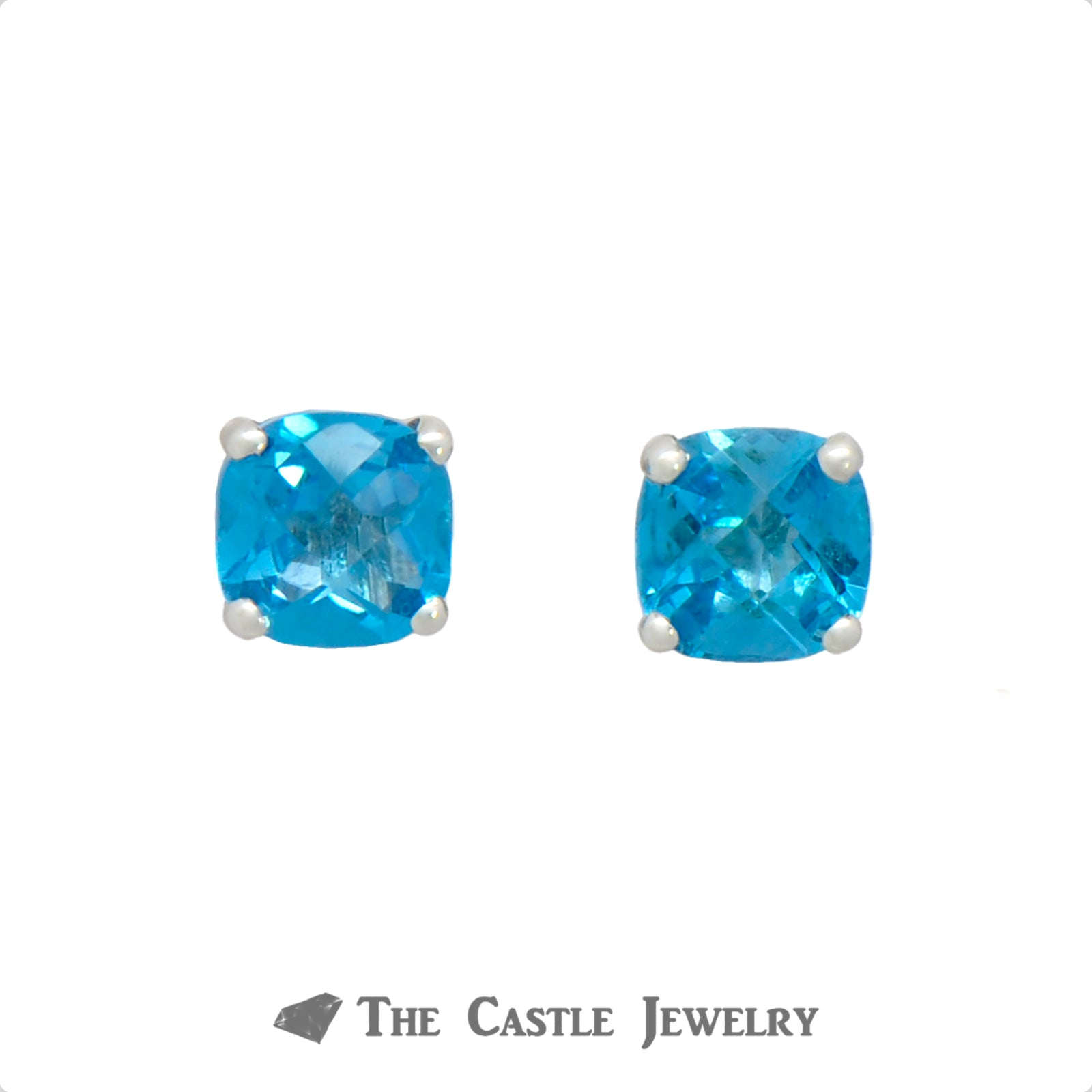 Cushion Cut Blue Topaz Studs in 14k White Gold