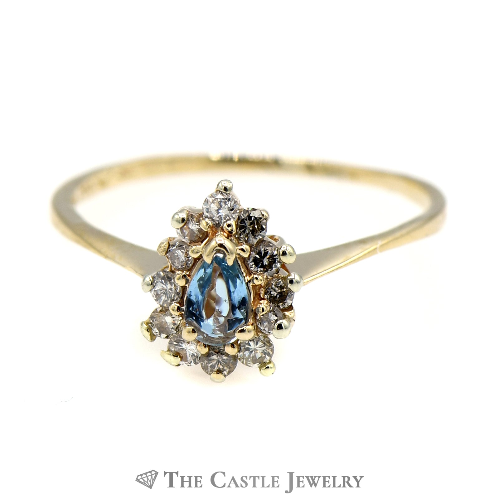 Petite Pear Shaped Topaz Ring with Diamond Halo