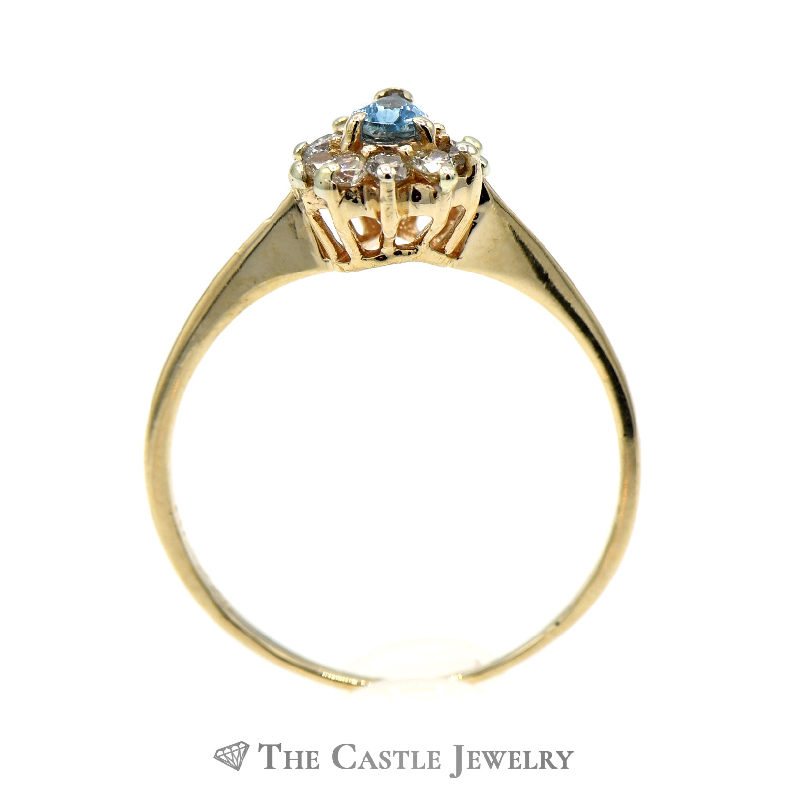 Petite Pear Shaped Topaz Ring with Diamond Halo-1